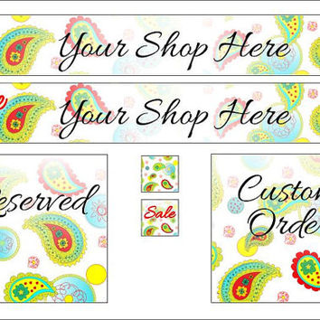 Etsy Banner set paisley pattern vibrant graphic design