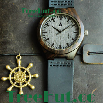 SALE Father's Day Gifts, Wooden Watch with Genuine Leather, Mens watch, Groomsmen gift, Wood Watch Bamboo Watch HUT031