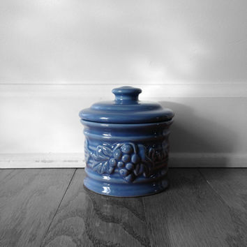 Blue Ceramic Sugar Pot, Container, Canister, Kitchen Decor and Houseware - Vintage Sucre, French Cottage Chic Design