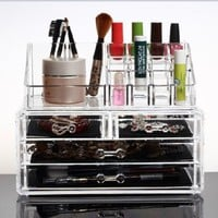 Marrywindix Makeup Organizer Luxury Cosmetics Acrylic Clear Case Storage Insert Holder Box