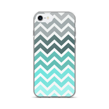 Turquoise Mermaid Chevron Fade Pattern iPhone 7/7 Plus Case