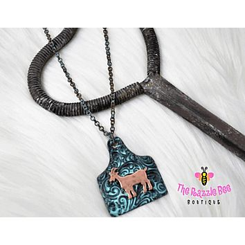 Goat Cattle Tag Necklace Set