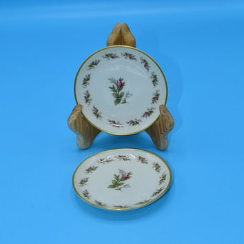 Rosenthal Moss Rose Coaster Pair Vintage Set of 2 German Porcelain Coasters Small Plates Rose Bud Gift for Her Mothers Day Wedding Gift