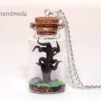 Old tree in a glass jar necklace
