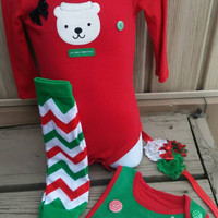 My First Christmas Baby Girl Set - Onesuit,  Headband, Bib,  Legwarmers -  Santa- Polar Bear