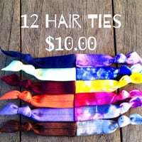 12 Hair Ties-Ponytail Holders by Elastic Hair Bandz on Etsy