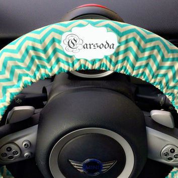 Personalized Monogram Car Steering wheel cover-Teal green Chevron pattern, Unique Auto Accessories, Custom Automobile Wheel cover