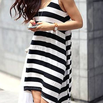Black and White Striped Sleeveless Midi Dress