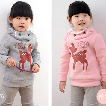 Autumn Winter  children sweater cartoon deer baby girls hoody thicken kids clothes girl hoodies & sweatshirts = 1945998340