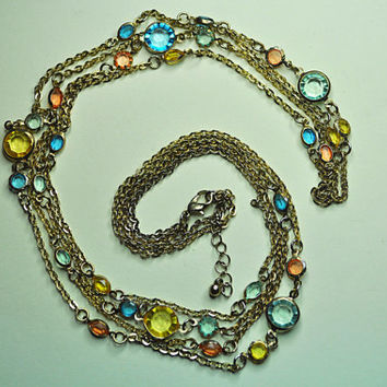 "AUSTRIAN CRYSTAL Vintage Gold, Blue, Topaz and Peach Crystal Bezel, Double Strand Chain Long 38"" Necklace, Gorgeous and Unique! #a649"