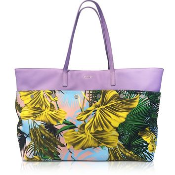 Versace Desert Palm Print Cotton and Lilac Leather Palazzo Tote Bag