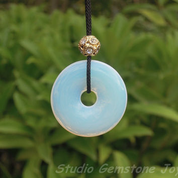 Manmade Opal Healing Crystal Donut Pendant Necklace, Brass Labster Clasp - 1PC 30mm Fashion Gemstone Jewelry Gift for her or him or Kids