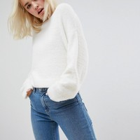 ASOS Cropped Sweater in Fluffy Knit and Wide Sleeve at asos.com