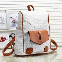 MK Michael Kors Fashion New More Letter Print Leather Women Men Backpack Bag White