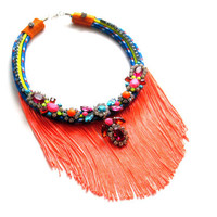 Statement necklace - neon statement necklace, painted rhinestone necklace, bib necklace, fringe necklace