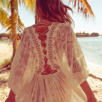 2017 summer cross long sleeve fashion jumpsuits women's embroidery lace bohemian playsuits white hollow out holiday bodysuits