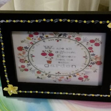 Up-Cycled Cottage Chic Hand Painted Positive Saying Picture Frame
