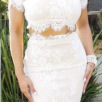 White Lace Crop Top And Maxi Skirt