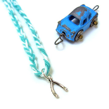 Wishbone Necklace Make a Wish Pendant Shore Blue Twine