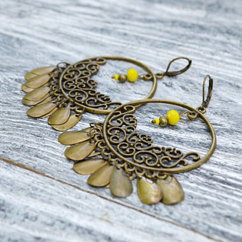 Large Boho Earrings Bohemian Tribal Yellow Bronze Earrings Ethnic gypsy earrings Assemblage Chandelier earrings Birthday gifts for sister