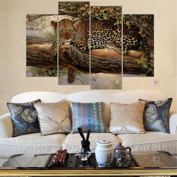 Unframed Large Canvas Paintings Leopard Paintings African Animal In The Tree Print Wall Art Picture Home Decor Modular 4 Pieces