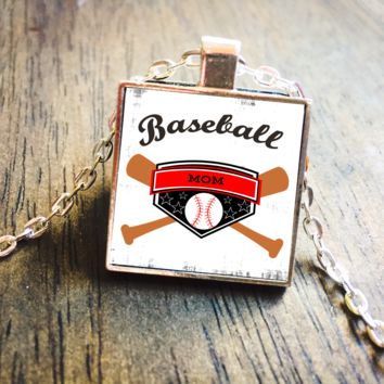 Baseball Mom Silver Pendant Necklace Jewelry