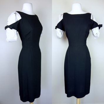1950s black rayon dress, cut out sleeve wiggle starlet dress w/ bows bombshell hourglass little black dress