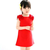 2-7Y Baby Girls Dress Party Princess Dress Floral Dress Sleeveless Sundress Dress