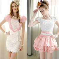 Ladies Womens Roses Round Neck Blouses Bubble Short-Sleeved Shirt Blouses tops