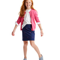 Girls Anchor Embroidered Skirt