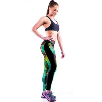 camouflage galaxy printed hight waist casual sports yoga elastic pants free shipping  number 1