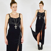 vtg 90s grunge goth black tripp nyc VELVET cut out LACE-UP corset bodycon side slit maxi dress M