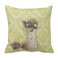 elegant spring wildflower mint green damask french country throw pillows