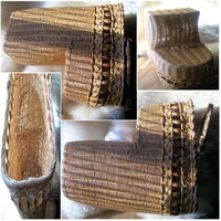 Vintage Stair Step Storage Basket Woven Wicker Wood Beads Swing Handle French Braid Top, Natural Oak Color, Good Condition Minor Bowing Wear