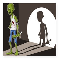 "Zombie In Spotlight Square Car Magnet 3"" x 3"""