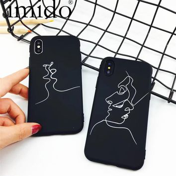 Fashion Abstract Line Face Soft Phone Cases For iphone 7 X Case Cute Cartoon Art Line cover For iphone7 6 6S 8 PLus Comics Coque