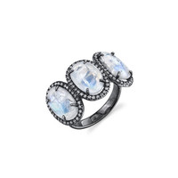 Sheryl Lowe Past, Present, Future Rainbow Moonstone Ring with Diamonds, Size 7