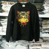 kenzo print long sleeve black sweater top H-spring-CLFSGCJDZ