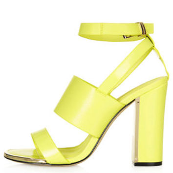 RIOT Metal Trim High Heel Sandals - Yellow