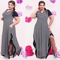 Plus size dress Summer casual black and white stripe split dresses plus size women clothing