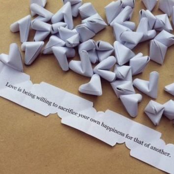 Paper Origami Hearts With Love Quotes