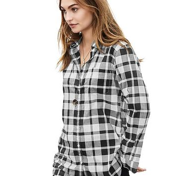 Banana Republic Womens Soft Wash Black Plaid Shirt