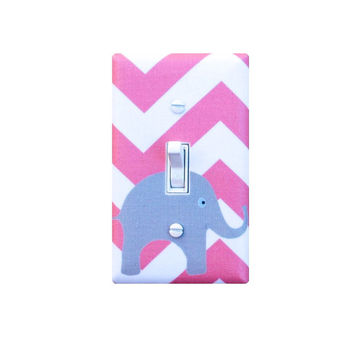Chevron Elephant Nursery Decor /  Light Switch Plate Cover / Bright Pink White Girls / Slightly Smitten Kitten