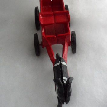 Late 1800s - Early 1900s VINTAGE CAST IRON Toy Wagon pulled by Ram - Red Cast Iron Wagon with Moving Wheels - Manufacturer Unknown
