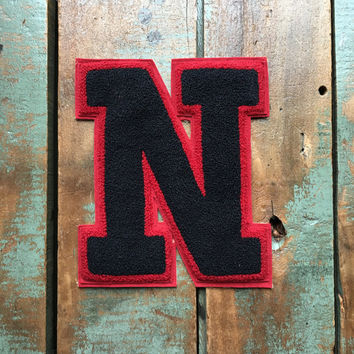 Large Vintage Letterman Patch, N Patch, Letterman Jacket Patch, Letterman Letter, Black And Red Letter