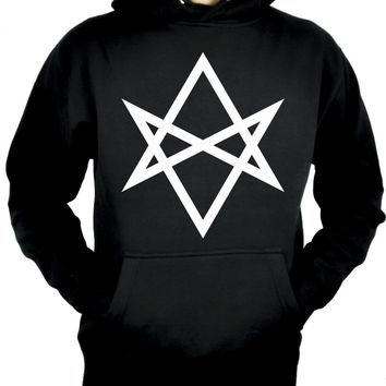 White Unicursal Hexagram Six Pointed Star Pullover Hoodie Sweatshirt