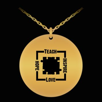 Autism Awareness Teach Hope Love Inspire 18K Gold Plated Chain