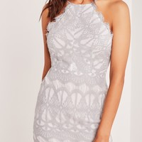 Missguided - Lace Strappy Bodycon Dress Grey