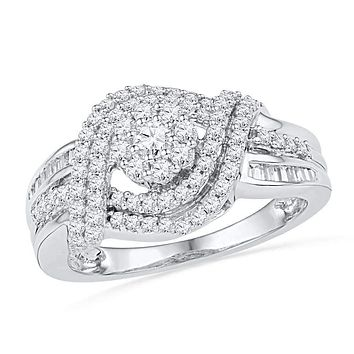 10kt White Gold Women's Round Diamond Cluster Bridal Wedding Engagement Ring 3/4 Cttw - FREE Shipping (US/CAN)