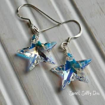 Shining Star Earrings, Sterling Silver Swarovski Crystal Star Earrings, Sterling Silver Jewelry